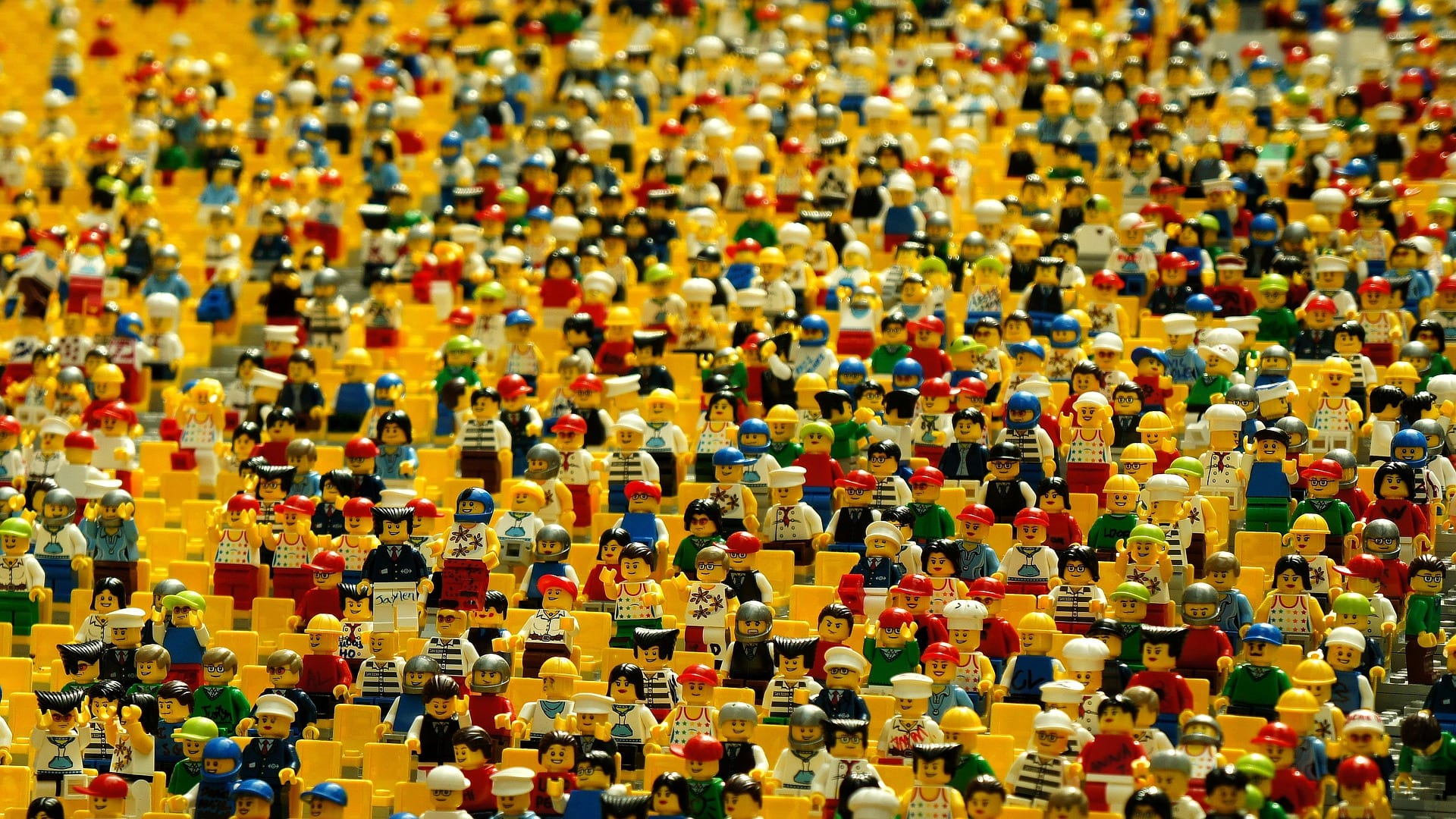 A crowd of mini-figures